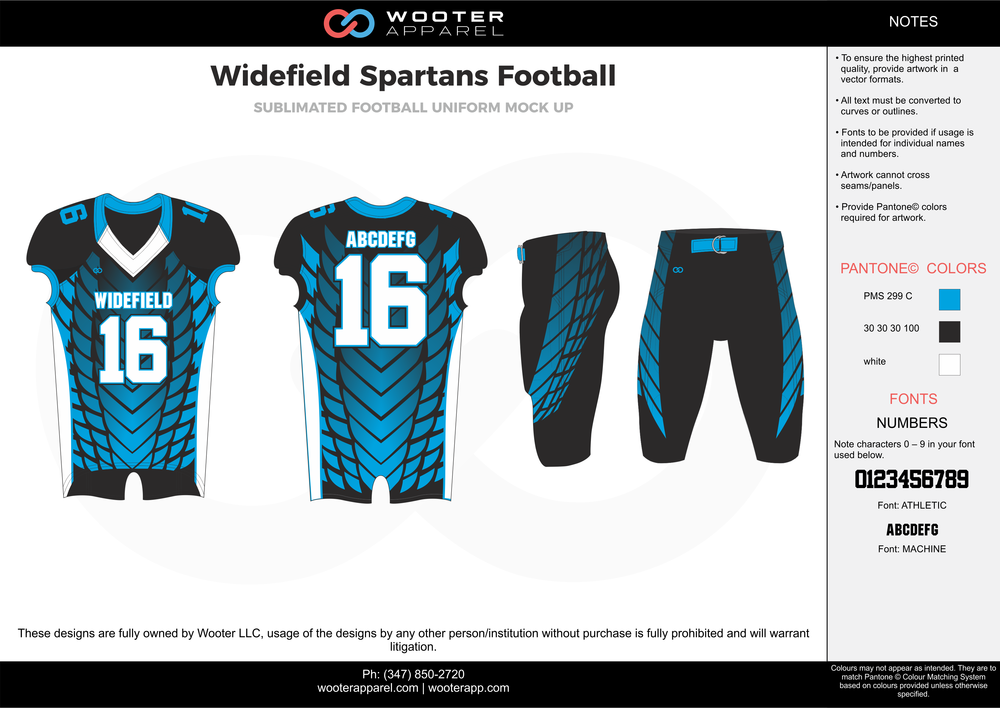 Widefield Spartans blue black white football uniforms jerseys pants
