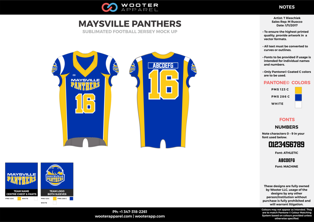 MAYSVILLE PANTHERS blue yellow white football uniforms jerseys top