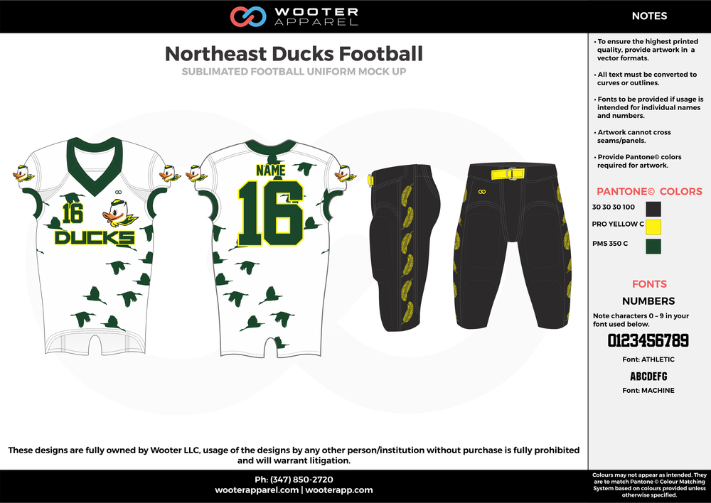 Northeast Ducks white black green football uniforms jerseys pants
