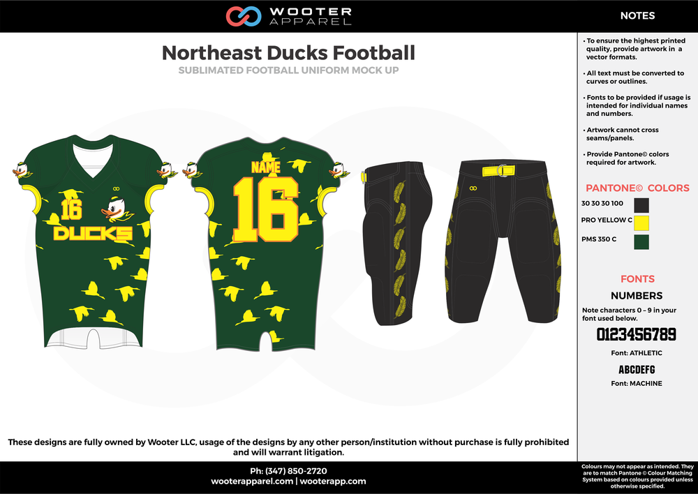 Northeast Ducks green black yellow football uniforms jerseys pants