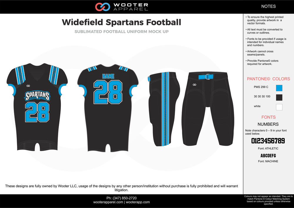 Widefield Spartans Football black blue white football uniforms jerseys pants