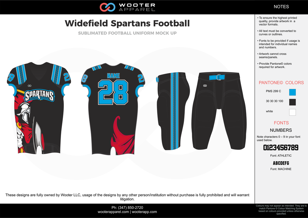 Widefield Spartans Football blue black red football uniforms jerseys pants