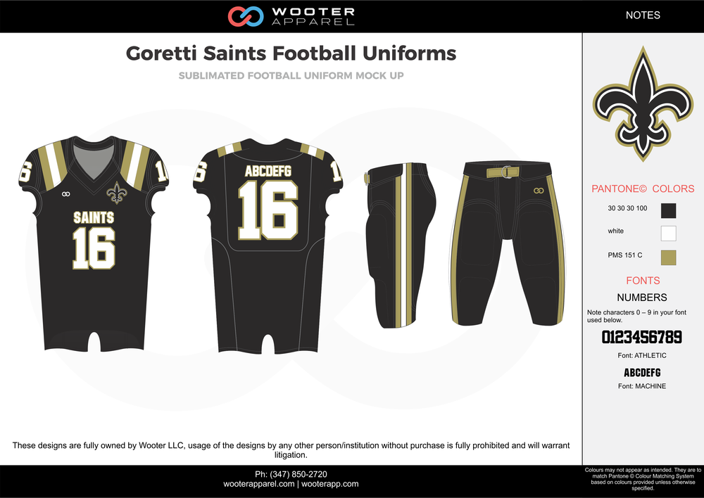 Goretti Saints black white gray football uniforms jerseys pants