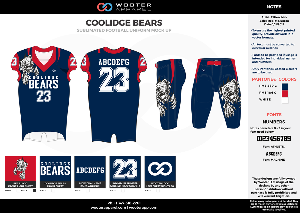 COOLIDGE BEARS blue red white football uniforms jerseys pants