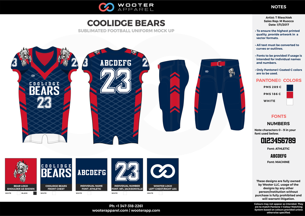 COOLIDGE BEARS red blue white football uniforms jerseys pants