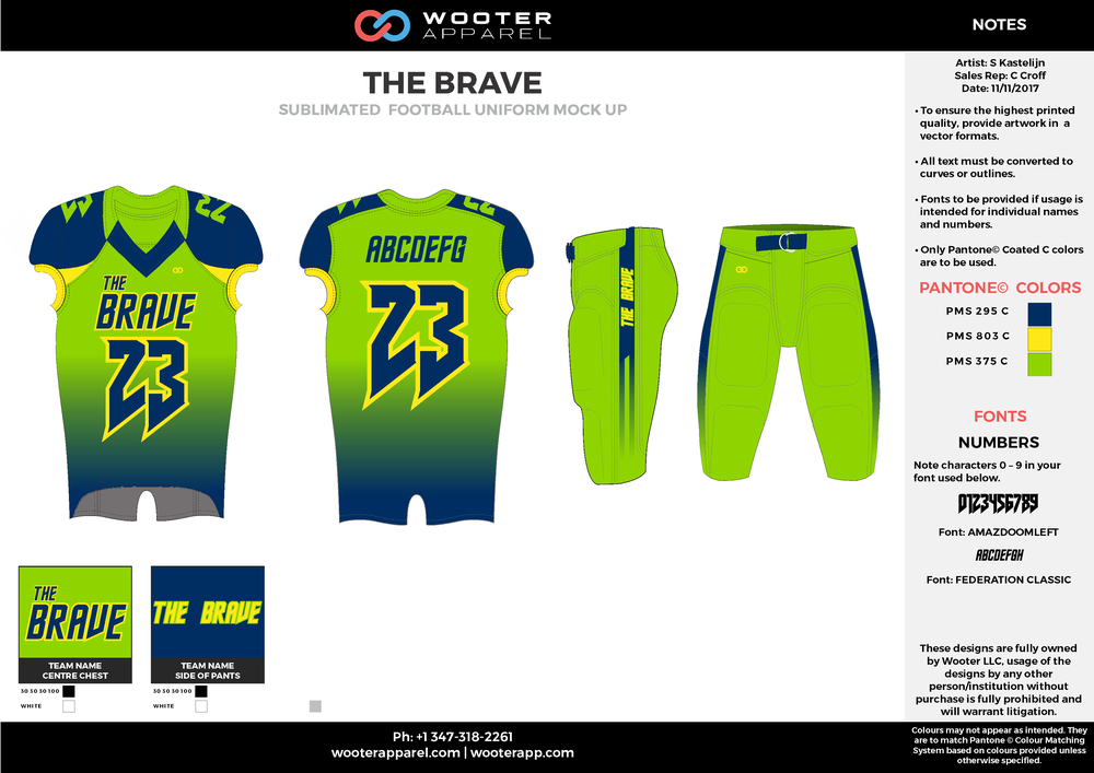 THE BRAVE green yellow blue football uniforms jerseys pants