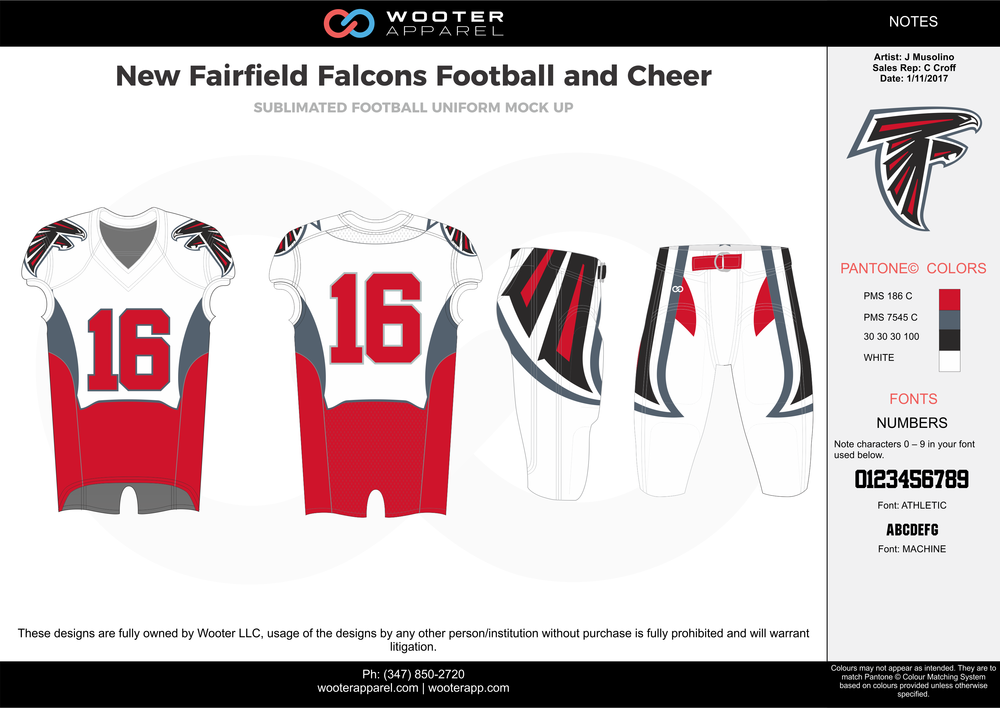 New Fairfield Falcons red white gray black football uniforms jerseys pants
