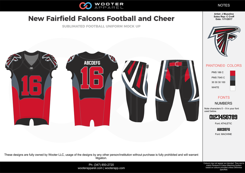 New Fairfield Falcons red black gray white football uniforms jerseys pants