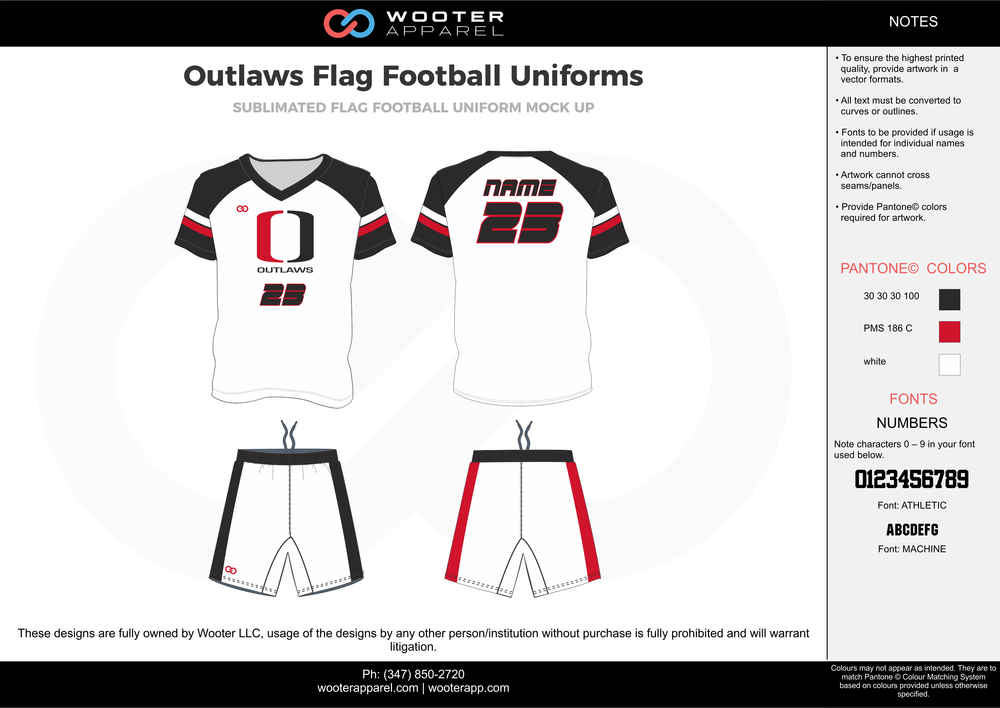 Outlaws Flag white black red football uniforms jerseys shorts