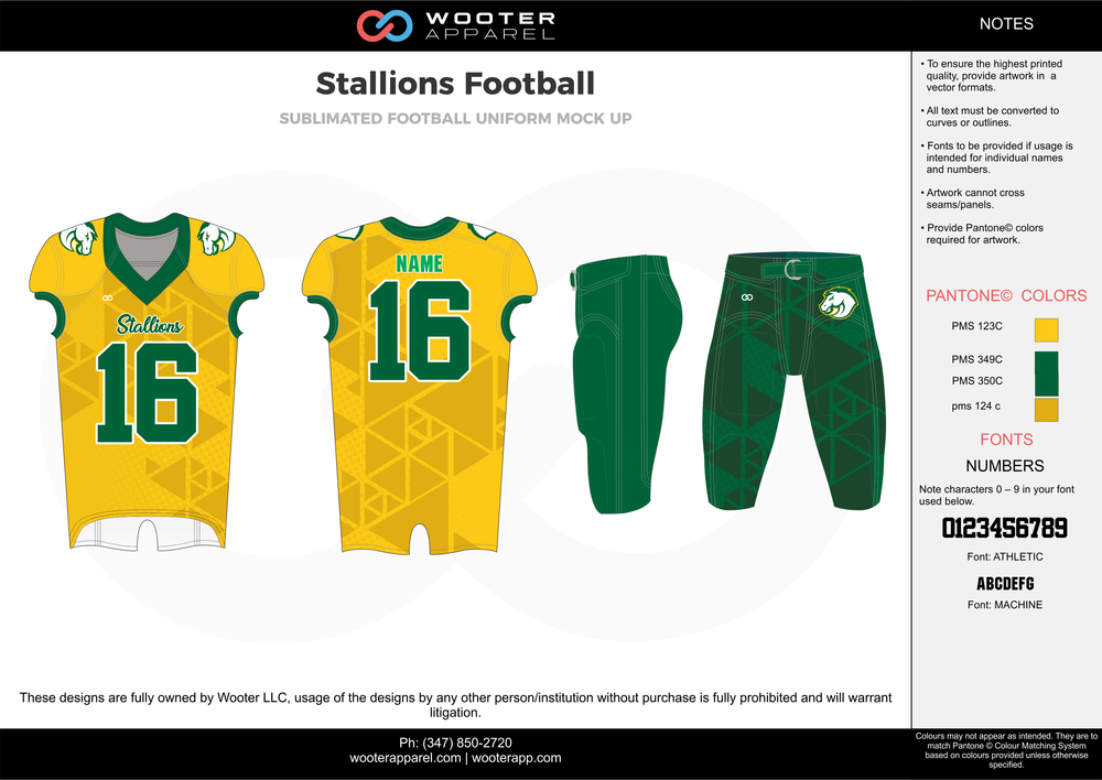 Stallions Football green yellow football uniforms jerseys pants
