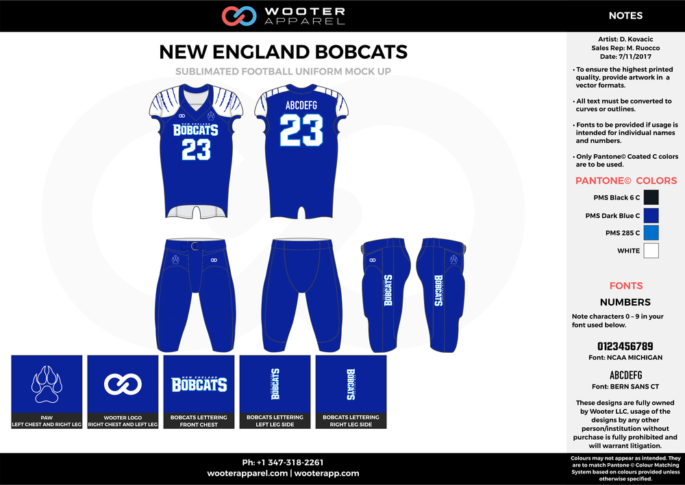 NEW ENGLAND BOBCATS blue white football uniforms jerseys pants