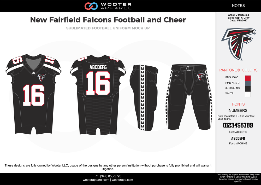 New Fairfield Falcons black gray red white football uniforms jerseys pants