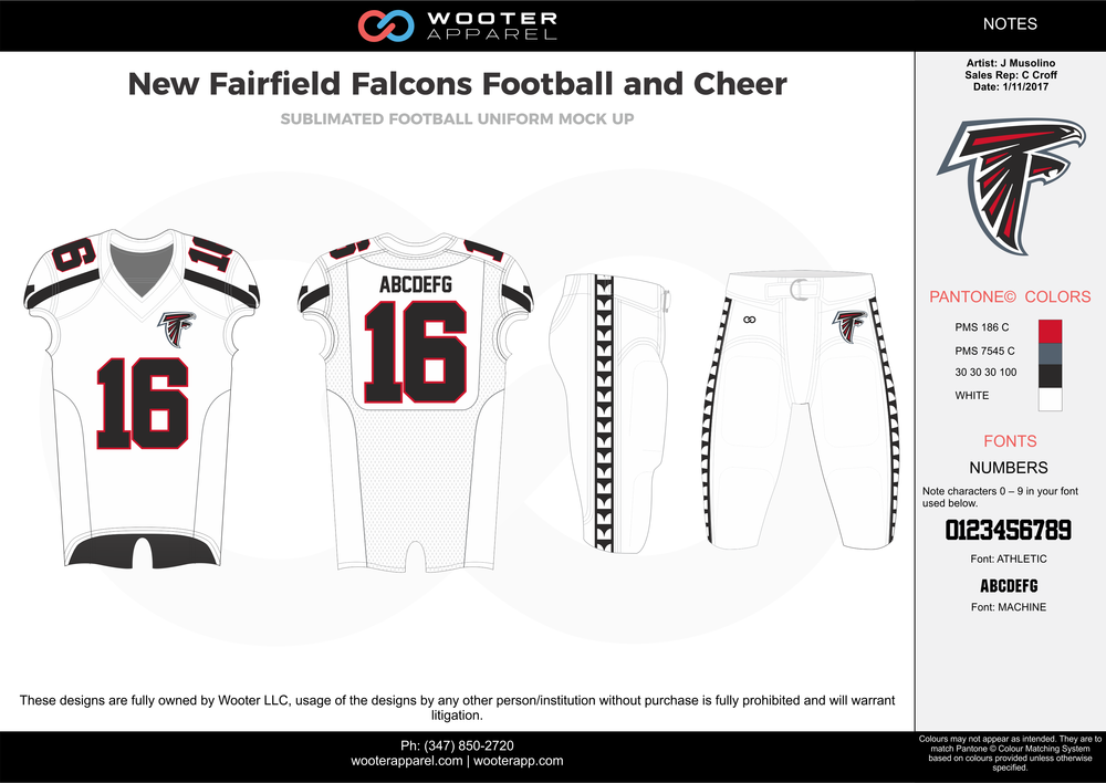 New Fairfield Falcons white red gray black football uniforms jerseys pants