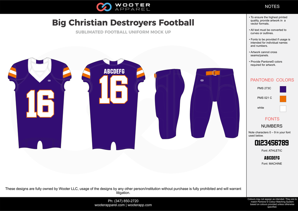 Big Christian Destroyers purple orange white football uniforms jerseys pants