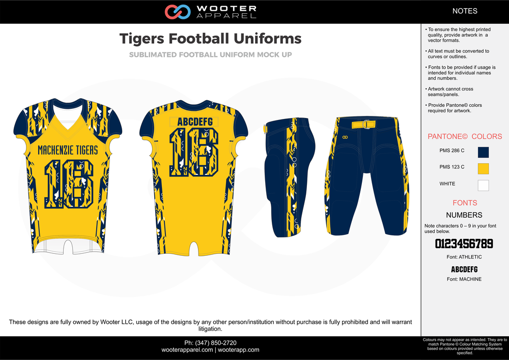 Tigers yellow blue white football uniforms jerseys pants