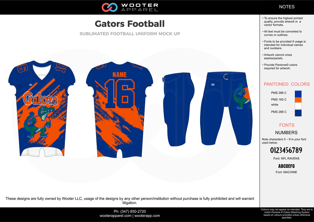Gators Football blue orange white football uniforms jerseys pants