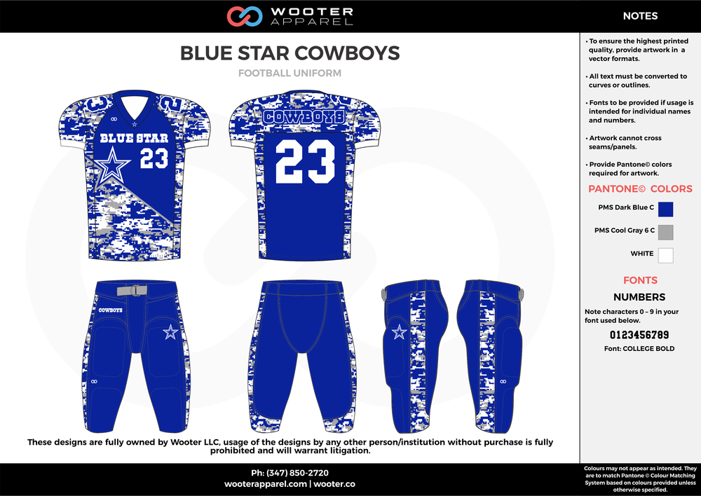 BLUE STAR COWBOYS blue gray white football uniforms jerseys pants