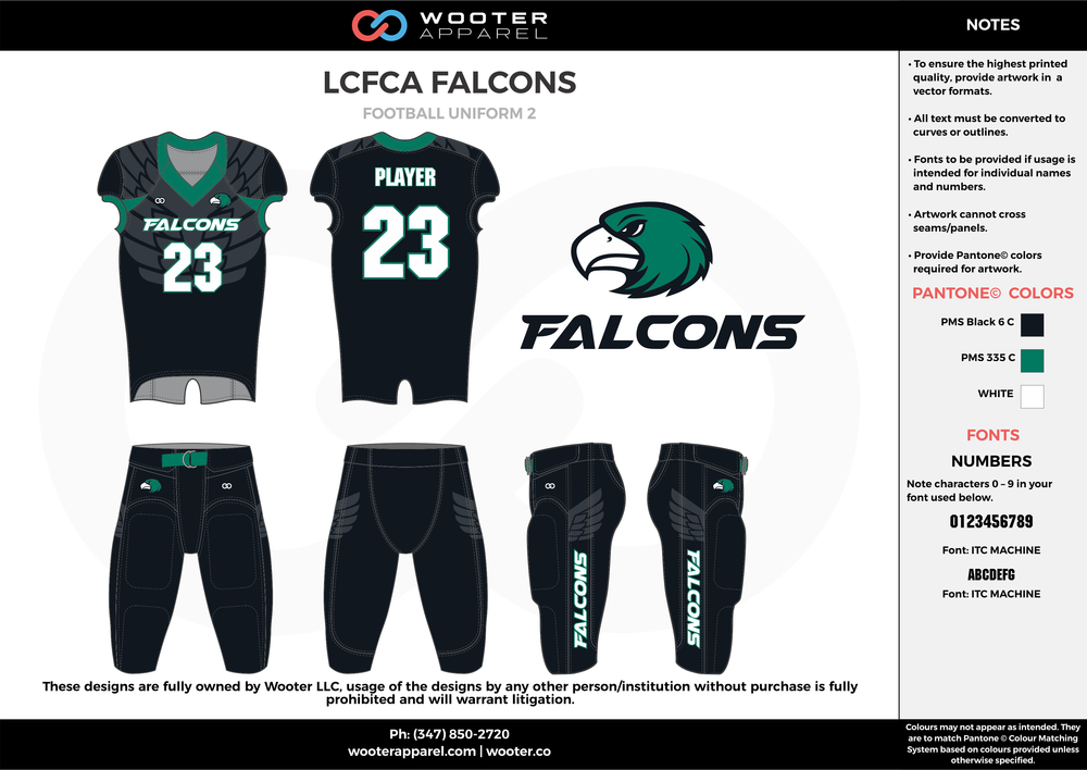 LCFCA FALCONS black green white football uniforms jerseys pants