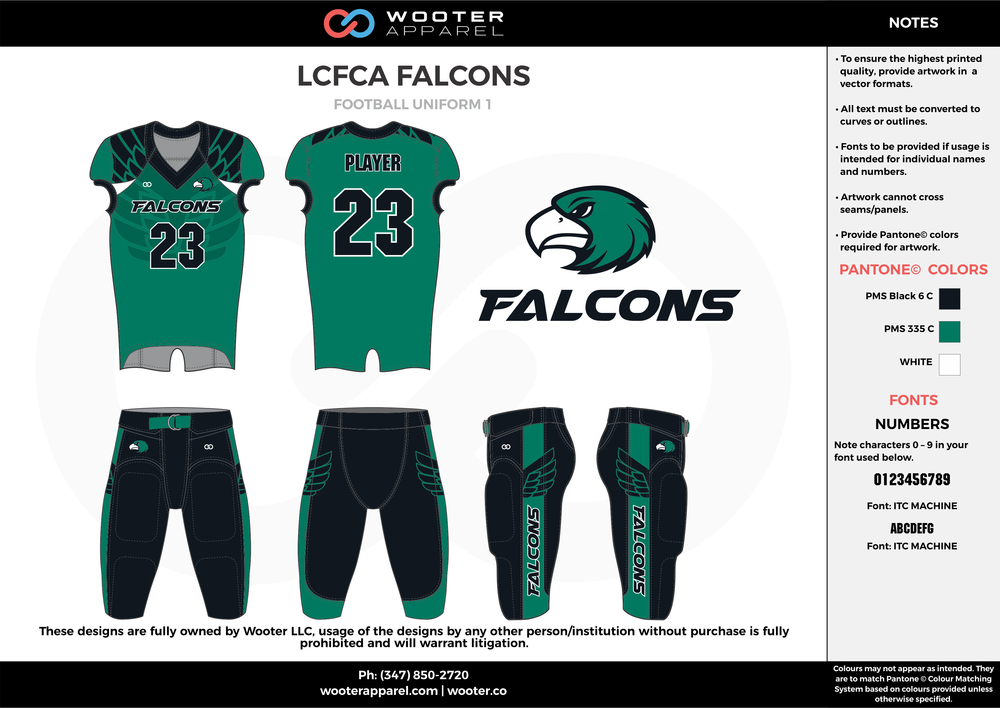 LCFCA FALCONS green black white football uniforms jerseys pants