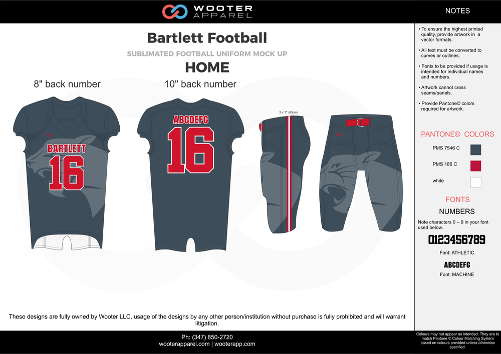 Bartlett Football gray red football uniforms jerseys pants