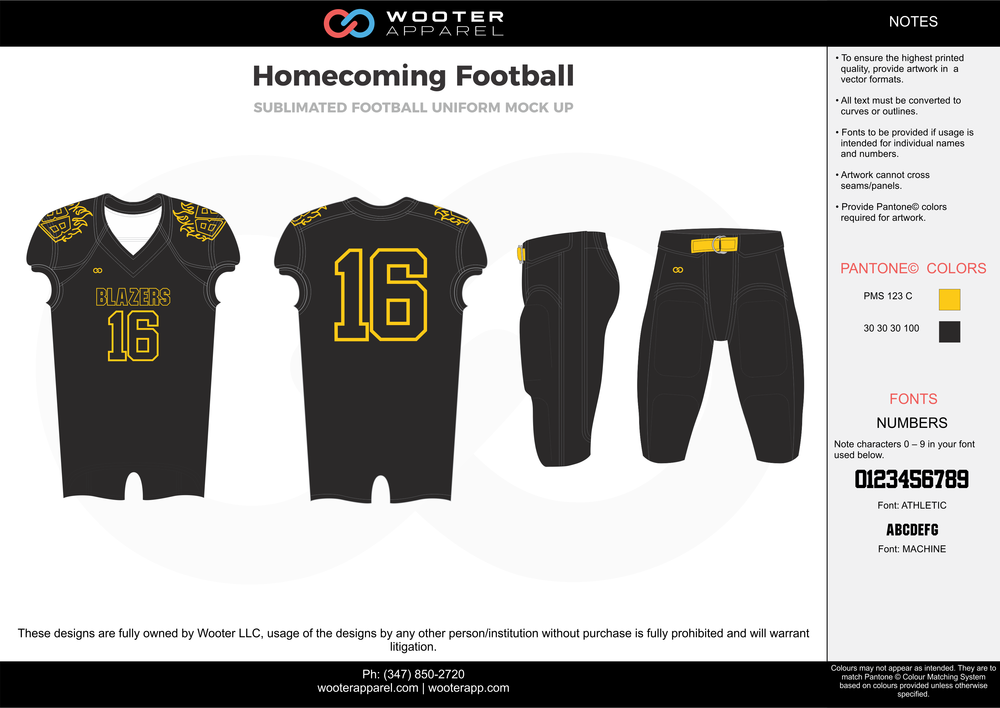 Homecoming Football black yellow football uniforms jerseys pants