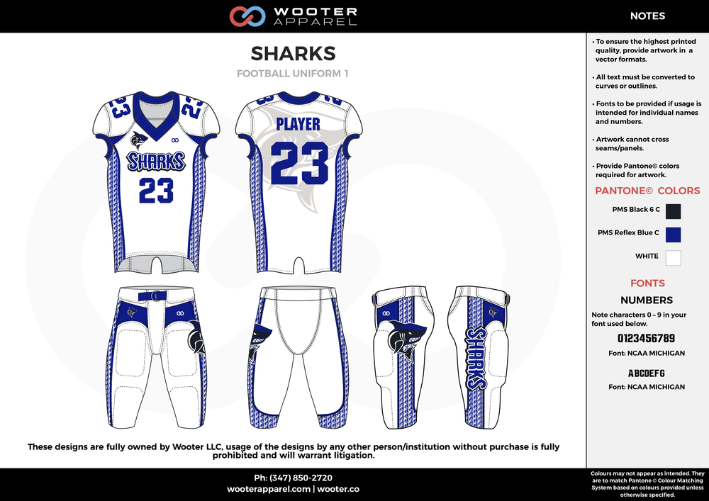 SHARKS white blue black football uniforms jerseys pants