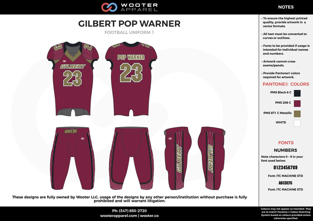 GILBERT POP WARNER maroon black beige football uniforms jerseys pants