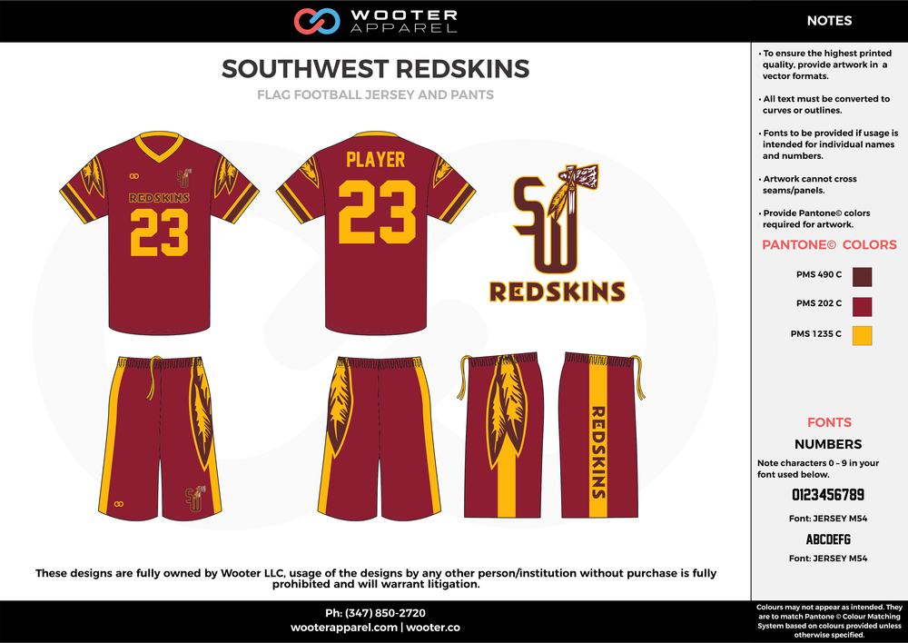 SOUTHWEST REDSKINS maroon yellow football uniforms jerseys pants
