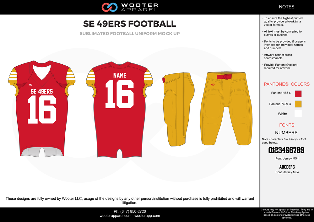 SE 49ERS FOOTBALL red yellow white football uniforms jerseys pants