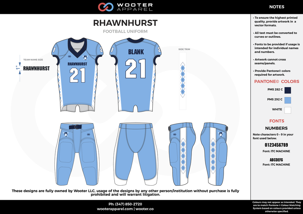 RHAWNHURST blue black white football uniforms jerseys pants