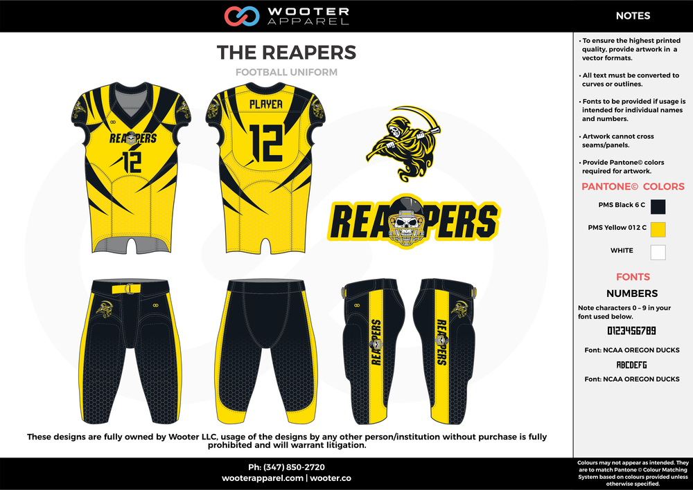 THE REAPERS yellow black white football uniforms jerseys pants