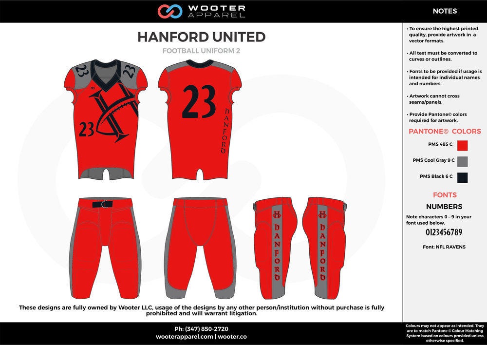 HANFORD UNITED red gray black football uniforms jerseys pants
