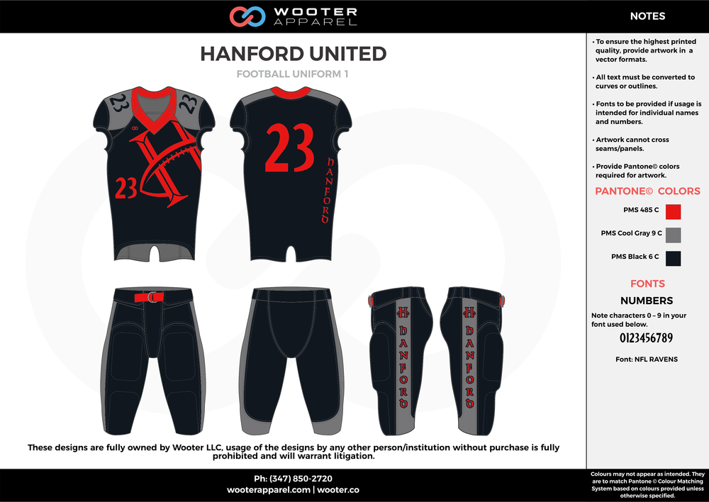 HANFORD UNITED black red gray football uniforms jerseys pants