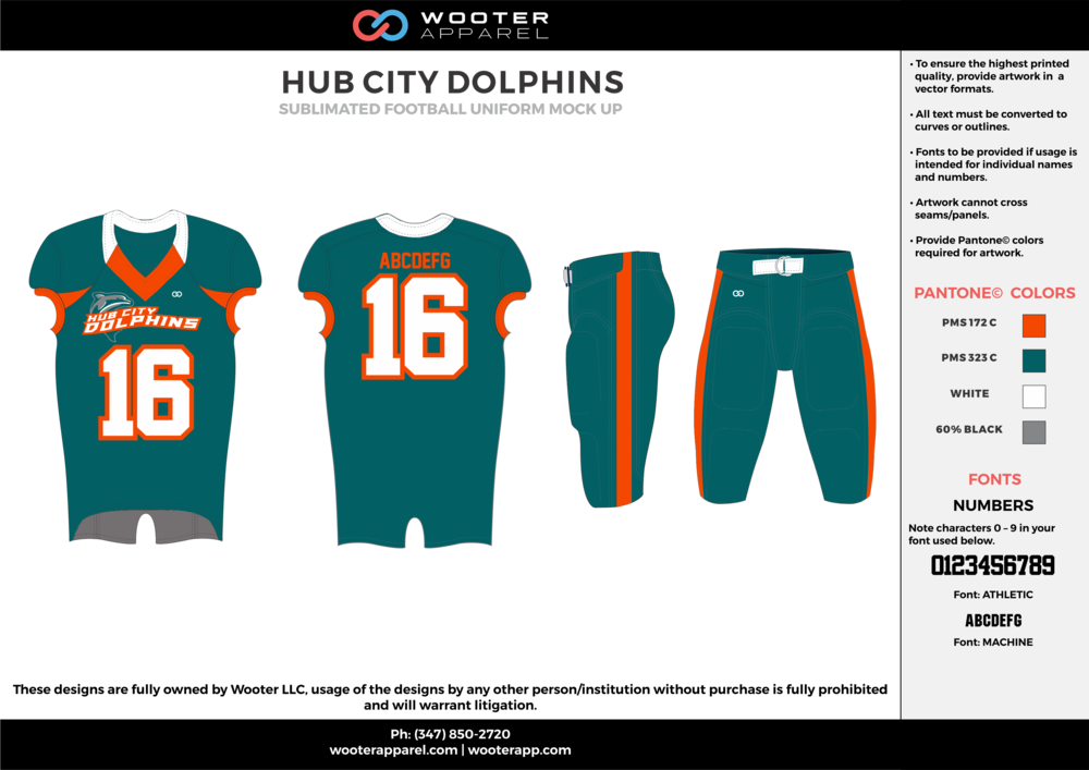 HUB CITY DOLPHINS water blue orange white gray football uniforms jerseys pants
