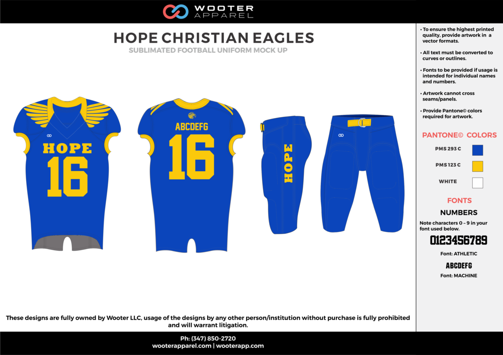 HOPE CHRISTIAN EAGLES blue yellow football uniforms jerseys pants