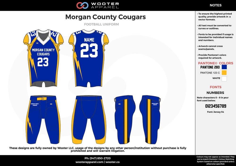 Morgan County Cougars blue yellow white football uniforms jerseys pants