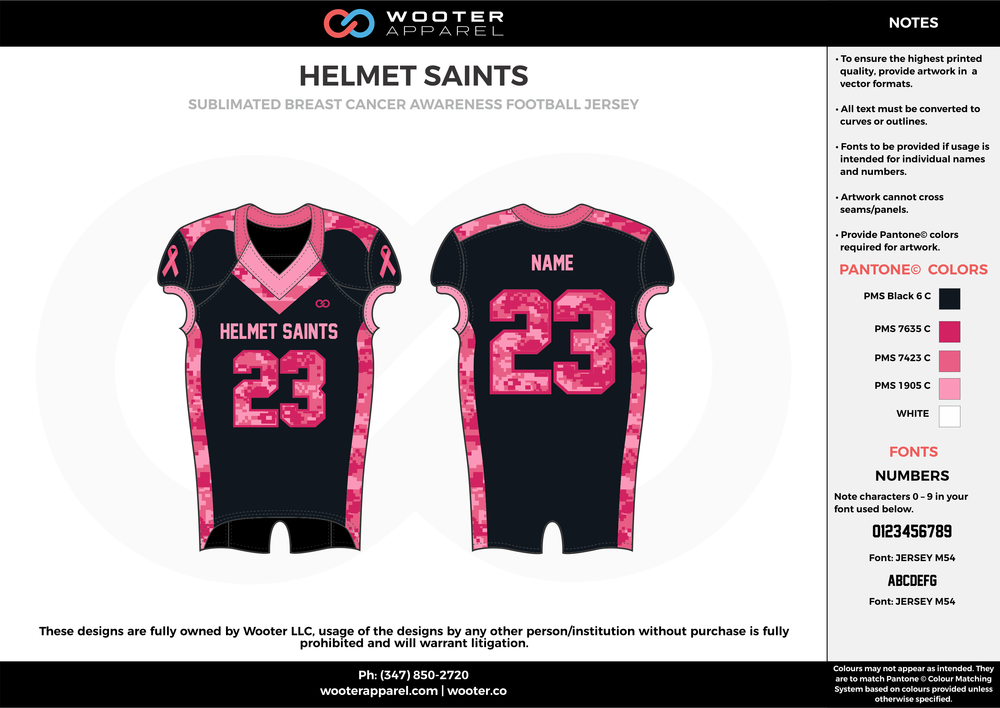 HELMET SAINTS black pink white football uniforms jerseys top