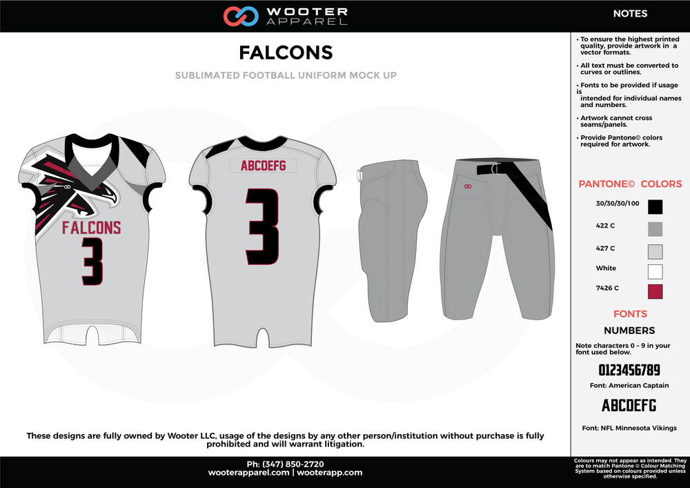 FALCONS gray black white maroon football uniforms jerseys pants