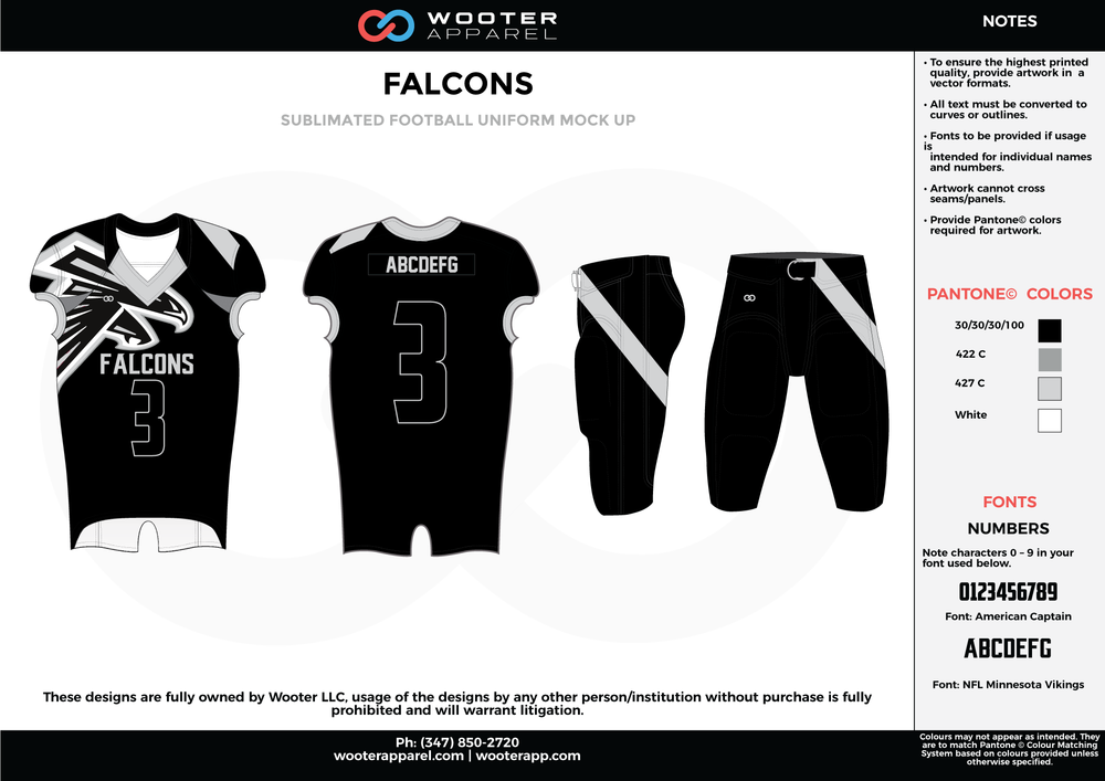 FALCONS black white gray football uniforms jerseys pants
