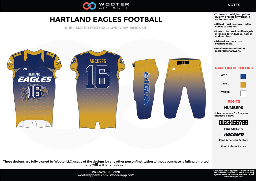 HARTLAND EAGLES FOOTBALL yellow blue white football uniforms jerseys pants