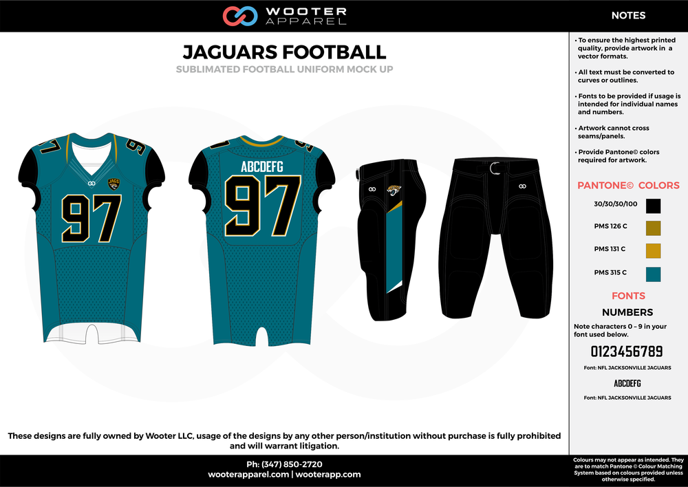 JAGUARS FOOTBALL water blue black yellow football uniforms jerseys pants