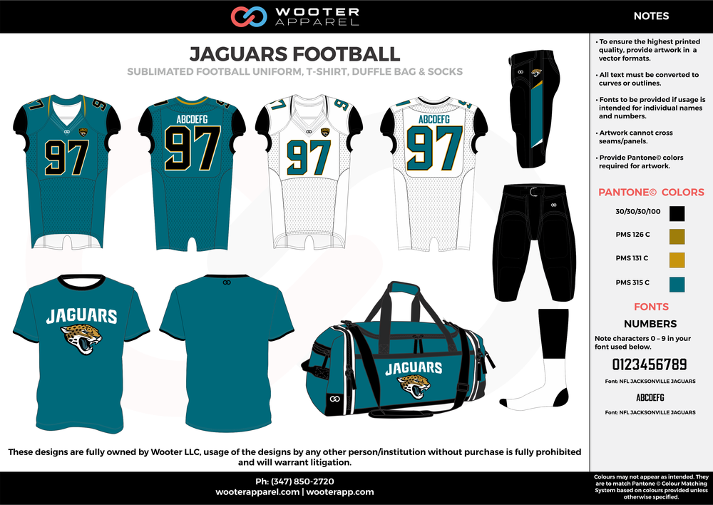 JAGUARS FOOTBALL water blue yellow white black football uniforms jerseys pants socks bags
