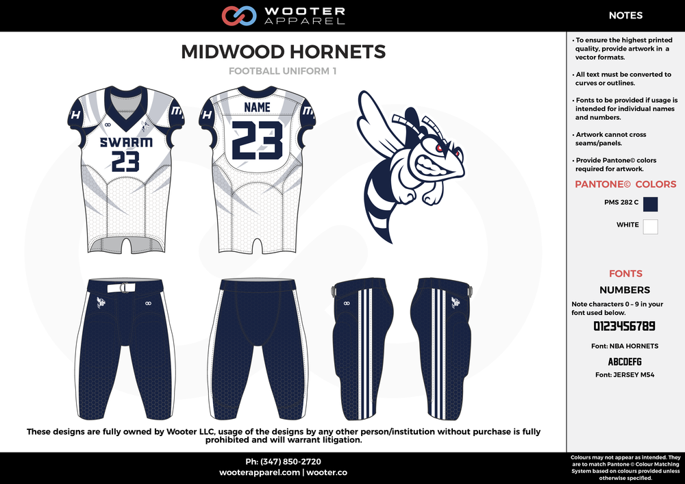 MIDWOOD HORNETS navy blue white football uniforms jerseys pants