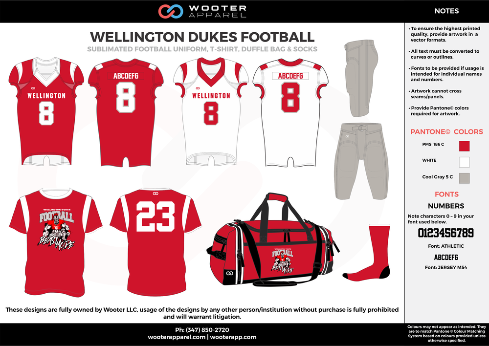 WELLINGTON DUKES FOOTBALL red white gray football uniforms jerseys pants bags socks