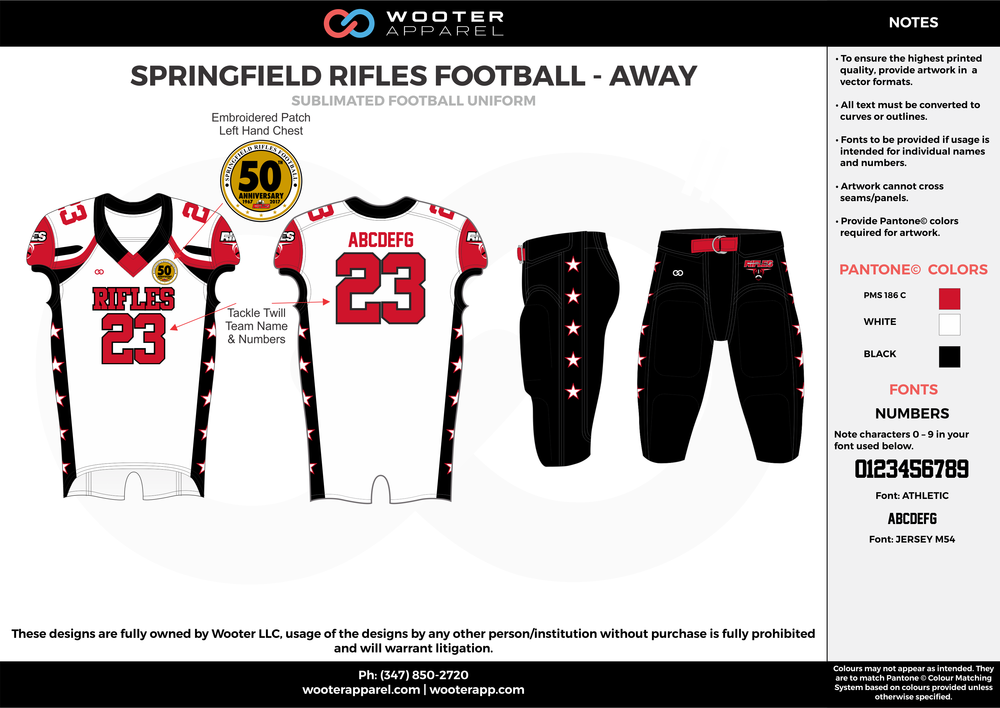 SPRINGFIELD RIFLES FOOTBALL - AWAY white red black football uniforms jerseys pants