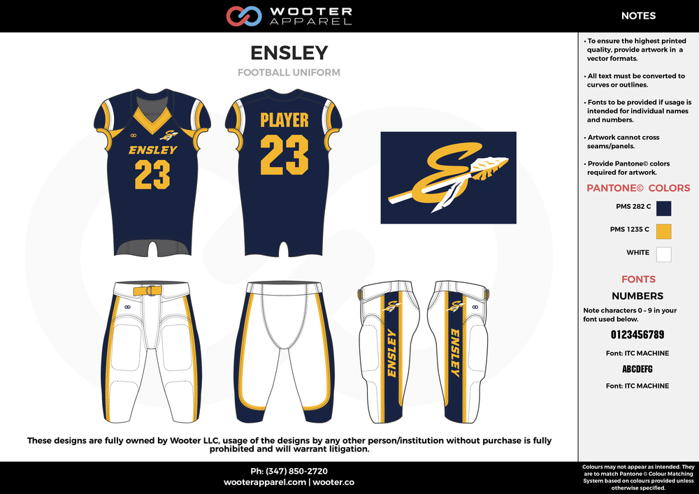 ENSLEY navy blue white yellow football uniforms jerseys pants