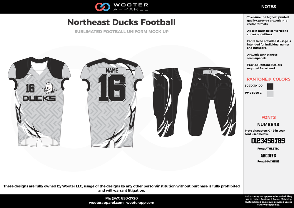 Northeast Ducks Football white black gray football uniforms jerseys pants