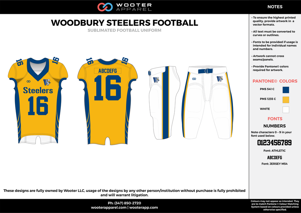 WOODBURY STEELERS FOOTBALL yellow white blue football uniforms jerseys pants