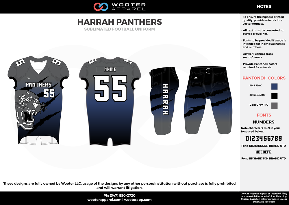 HARRAH PANTHERS black blue gray football uniforms jerseys pants