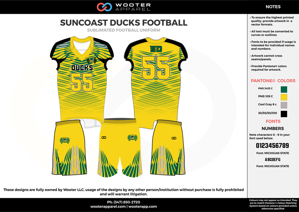 SUNCOAST DUCKS FOOTBALL yellow green gray black football uniforms jerseys shorts